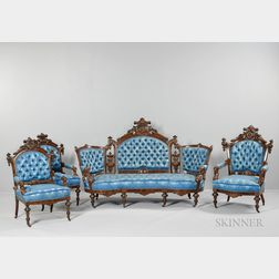 American Upholstered Carved Walnut Seating Suite