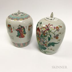 Two Chinese Ceramic Lidded Jars