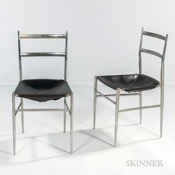 Pair of Aluminum and Leather Side Chairs