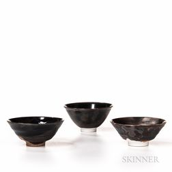 Three Makoto Yabe (Japanese/American, 1947-2005) Tea Bowls