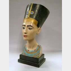 Painted Plaster Bust of Nefertiti.