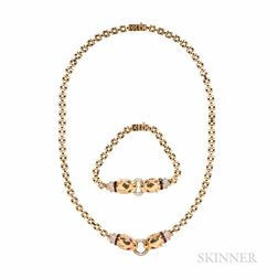 18kt Gold Necklace and Bracelet