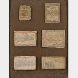 Six Framed Printed Paper Colonial Currency Notes