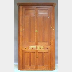 Walnut Four-door Corner Cupboard