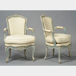 Pair of Louis XV Carved Fruitwood Fauteuils