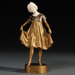 After Peter Tereszczuk (Austrian, 1875-1963)       Art Deco Bronze and Ivory Figure of a Girl