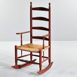 Red-painted Slat-back Armed Rocking Chair