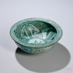 Turquoise Blue and Black Deep Bowl