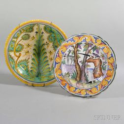 Faience Pottery Charger and Bowl