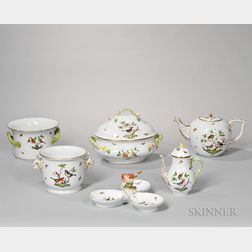 Forty-five Pieces of Herend Porcelain Rothschild Bird Pattern Tableware