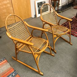 Pair Vintage L.L. Bean Caned Oak Snowshoe Chairs