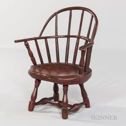 Child's Red-painted Sack-back Windsor Chair