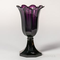 Amethyst Pressed Glass Tulip Vase
