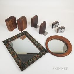 Three Pairs of Bookends and Two Mirrors