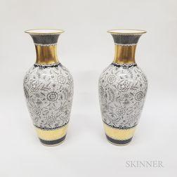 """Pair of Rosenthal """"Dekor Romana"""" Gilt Porcelain Vases"""