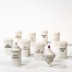 Ten French Porcelain Apothecary Jars