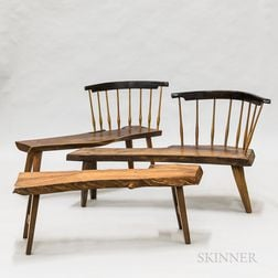 Three Pieces of Dierkes American Craft Live-edge Furniture