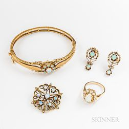 Four Pieces of 14kt Gold and Opal Jewelry