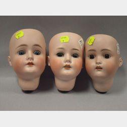 Three German Bisque Socket Doll Heads