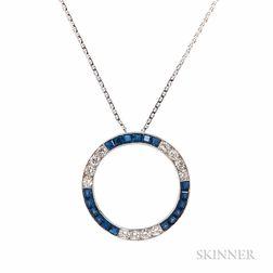 Platinum, Sapphire, and Diamond Circle Pendant, Tiffany & Co.