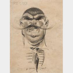 Everett Shinn  (American, 1876-1953)      Head of a Man with Thin Handlebar Moustache