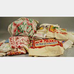Approximately Forty-seven Vintage Printed Cotton Souvenir Tablecloths