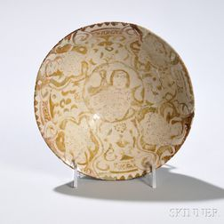 Beige and Brown Kashan Lustre Bowl