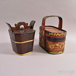 Sake Barrel and Bamboo Food Basket