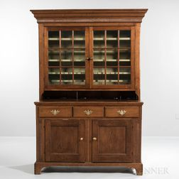 Walnut Carved and Glazed Step-back Cupboard
