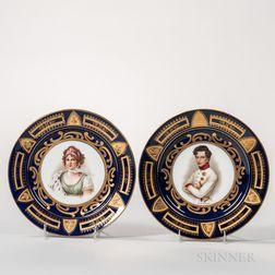 Pair of Vienna Porcelain Portrait Plates