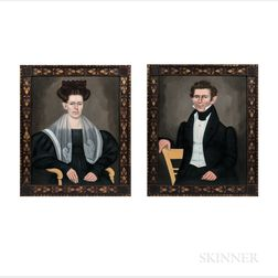 Erastus Salisbury Field (Massachusetts/New York, 1805-1900)      Pair of Portraits, a Husband and Wife