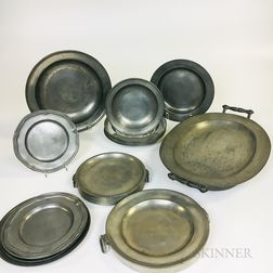 Fifteen Pewter Dishes and Three Hot Water Plates