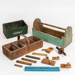 Three Painted Toolboxes and Assorted Wooden Tools