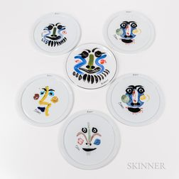 "Set of Five Victoria ""Collection Picasso"" and a Masterpiece Editions ""Picasso Living"" Porcelain Plate"