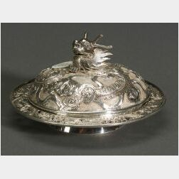 Small Chinese Export Silver Covered Butter Dish