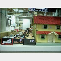Box of Dolls, House, Furniture and Doll Wardrobe.