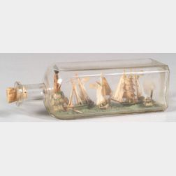 Harbor Scene with Ships in a Bottle