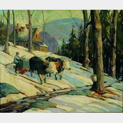 Robert Shaw Wesson (American, 1902-1967)    Oxen in Winter