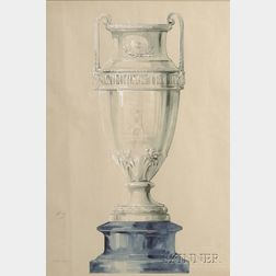 Original Reed & Barton Design Drawing for a Silver Trophy