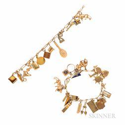 Two Gold Charm Bracelets