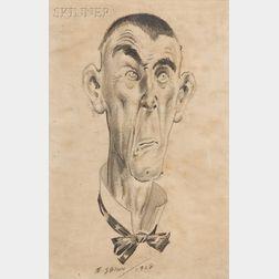 Everett Shinn  (American, 1876-1953)      Head of a Man with Bowtie