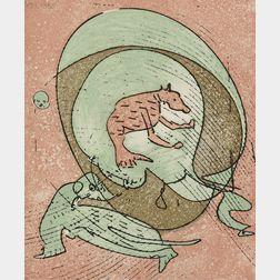 Max Ernst, illustrator (German, 1891-1976)      Le musée de l'homme suivi de la pêche au soleil levant