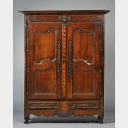 Provincial Carved and Inlaid Oak Armoire