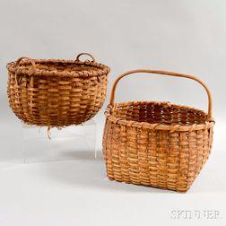Two Woven Splint Handled Baskets