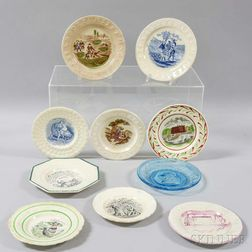 Ten Transfer-decorated Ceramic and Glass Children's Plates