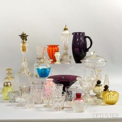 Group of Colored and Colorless Glass Tableware Items