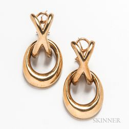 Pair of 14kt Gold Day/Night Earrings