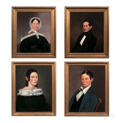 American School, 19th Century      Four Portraits of Members of the Henry Carter Family