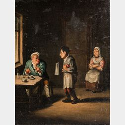 Dutch School, 17th/18th Century      Tavern Interior with Man Signaling for a Refill