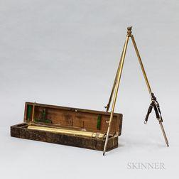 English Vickers Brass Telescope, Tripod, and Box